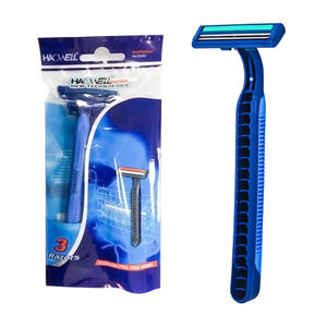 Haowell Hot sale disposable twin 2 blade razor shaving disposable razor blade with rubber handle