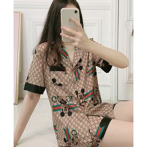 2020 custom women carton pajama suit silky satin printing shorts sleepwear