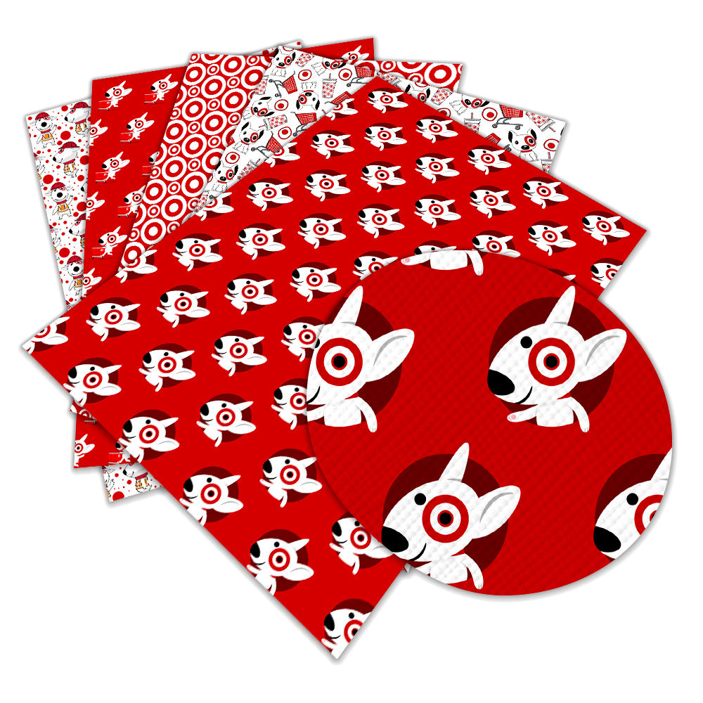 Cartoon dog red print faux leather Fabric PU Vinyl for hair bow festival party decoration