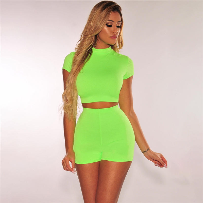 wholesale prom summer bodycon running yoga casual women clothing 2 piece neon short set
