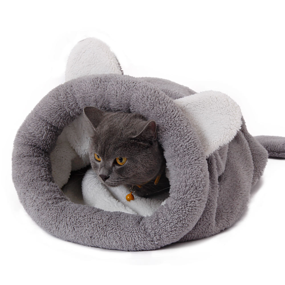 Puppy House Bed Winter Warm Fleece Small Pet Cat & dog Bed House Cage Sleeping Bag