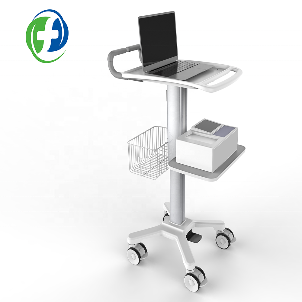 2019 medical hospital furniture trolley medicine cart ecg trolley abs cart laptop