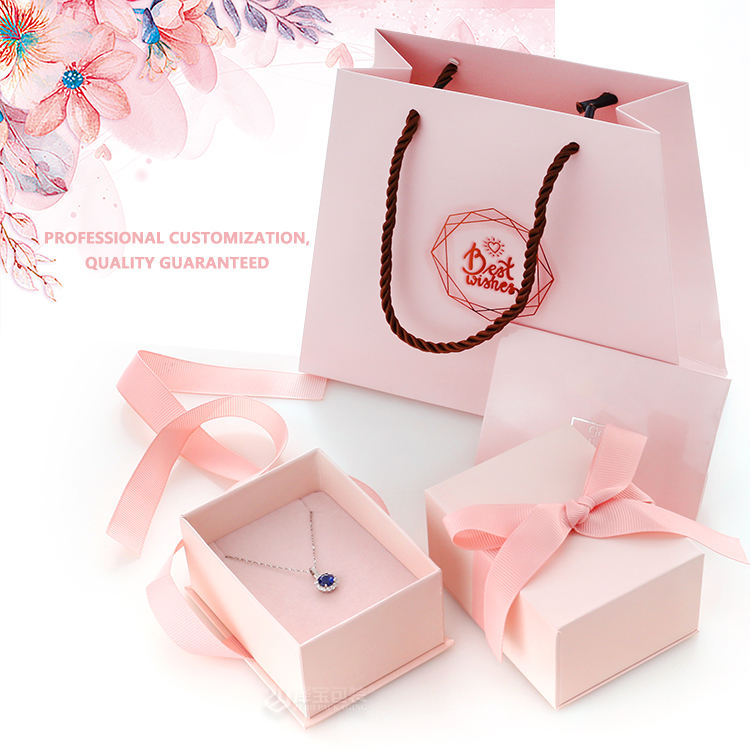 Hot Promotional necklace ear stud box ring bow pink luxury jewelry gift boxes jewellery packaging with paper bag trinket box