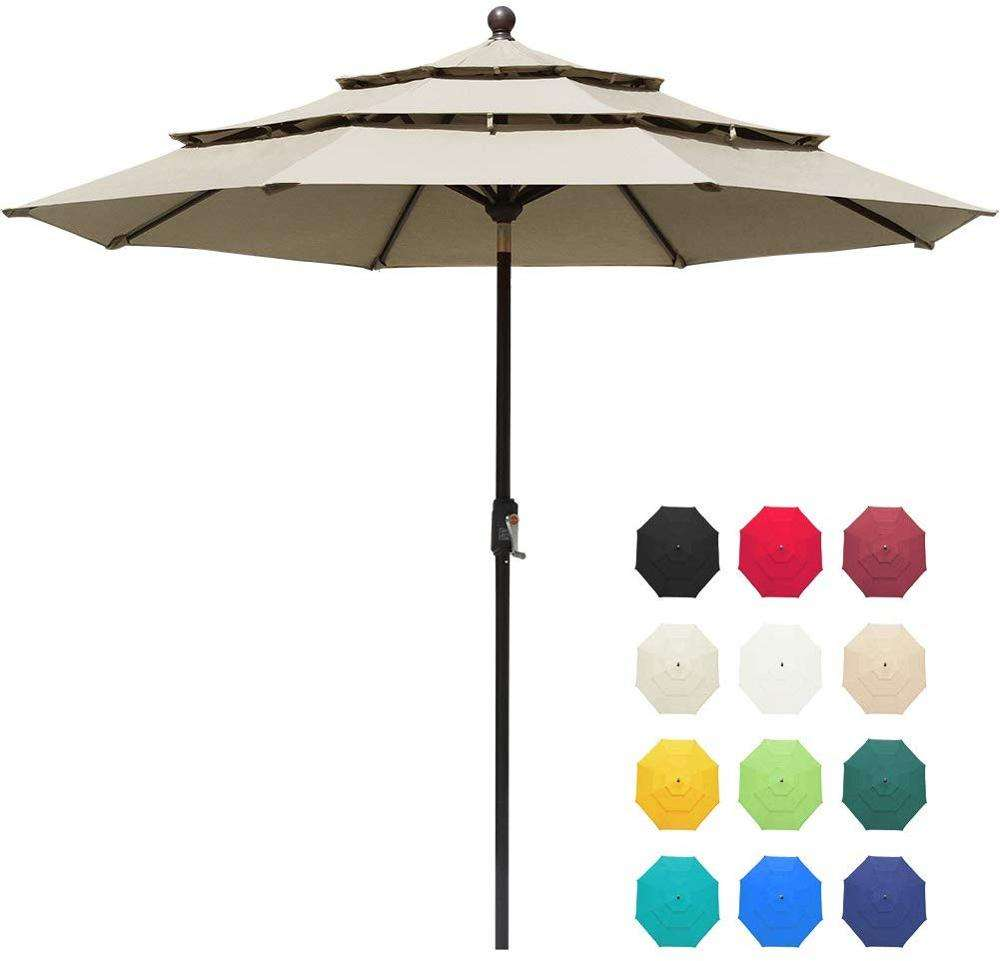 New 9Ft 3 Tiers Market Umbrella Patio Garden Beach Outdoor Table top Umbrella with Ventilation