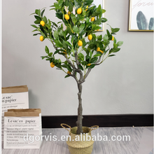 artificial Bonsai Home Office Plants Green faxu  Potted lemon tree