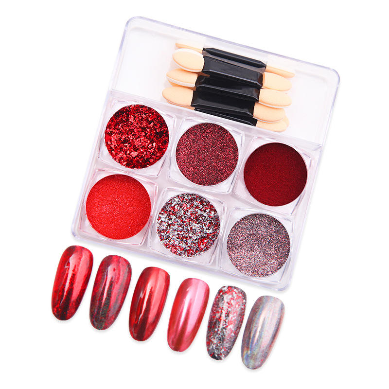 New 6 Colors Magic Mirror Powder Laser Nail Titanium Glitter Ultra-fine Electroplating Nail Powder