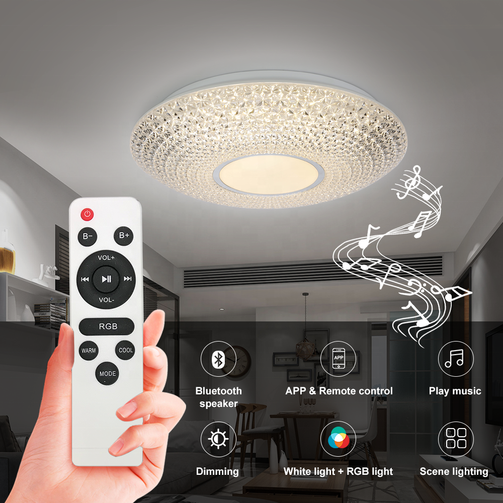Remote control led ceiling light with speaker fashion wifi app control bluetooth led ceiling lamp 48W 60W 3000-6500K