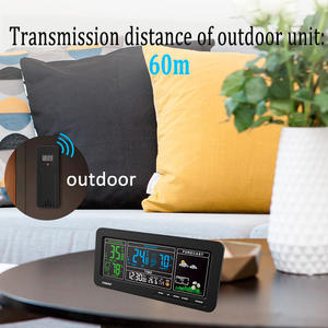 EMAF Colorful LCD Digital Outdoor Indoor Suhu Kelembaban Monitor Wireless Weather Station Alarm Clock
