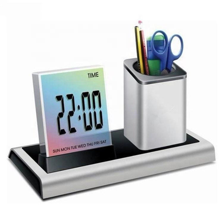 KH-CL056 Day Month Year Home Color Change Alarm Clocks Pen Holder for Office