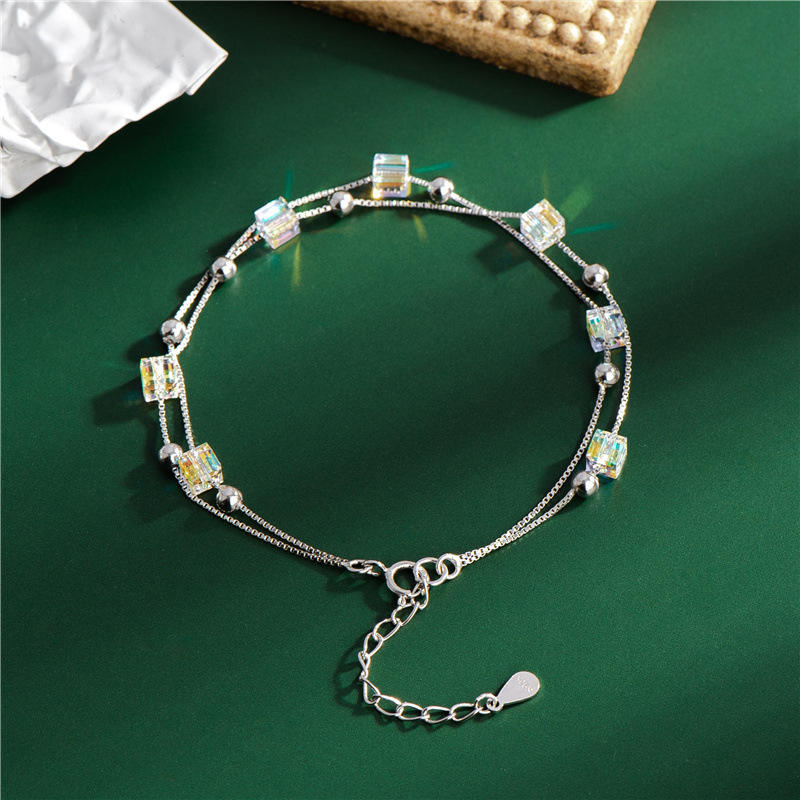 S925 Silver Sparkling Colorful Austrian Aurora Square Crystal Bracelets Adjustable Double Layers Box Chain Round Beads Bracelet