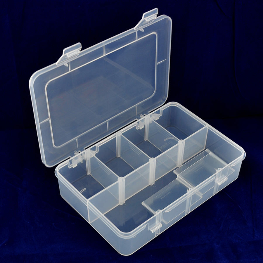 Clear PP Plastic Transparent Plastic Case Box Compartment Fishing Tackle Lure Box With Divider
