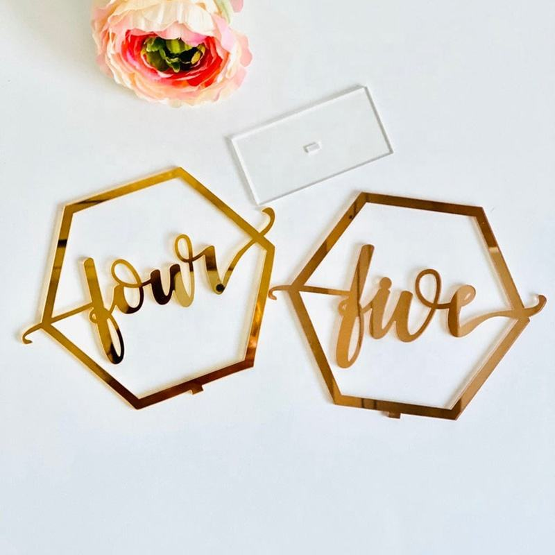 Hot sale Gold acrylic table number acrylic hexagon acrylic wedding table numbers for wedding decoration
