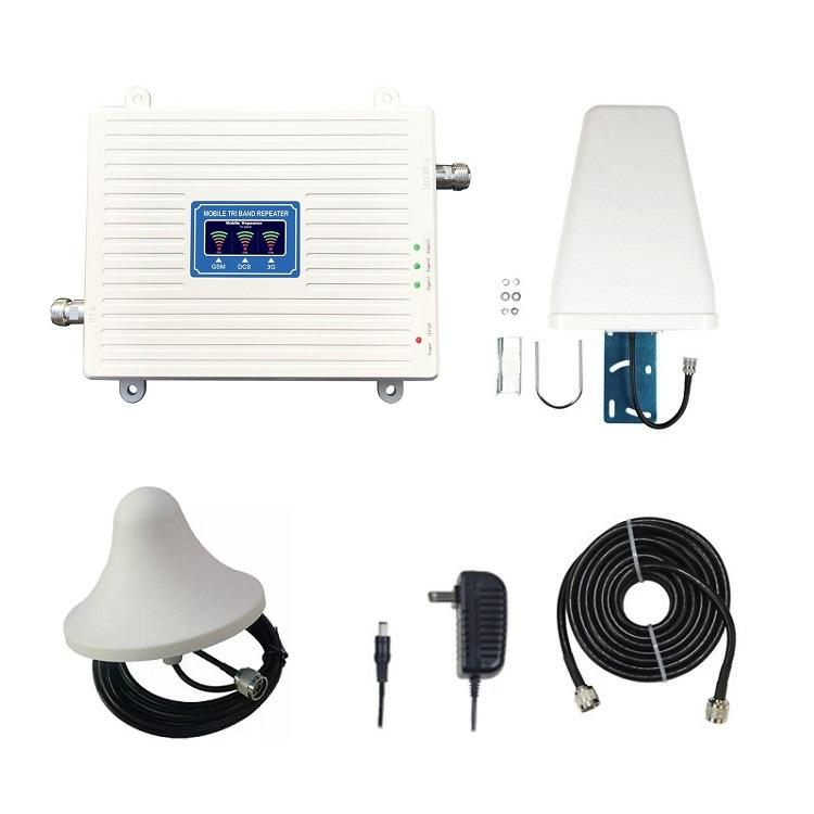 Triband signal booster GSM 900mhz+ DCS 1800mhz + WCDMA 2100mhz full set mobile signal booster repeater amplifier
