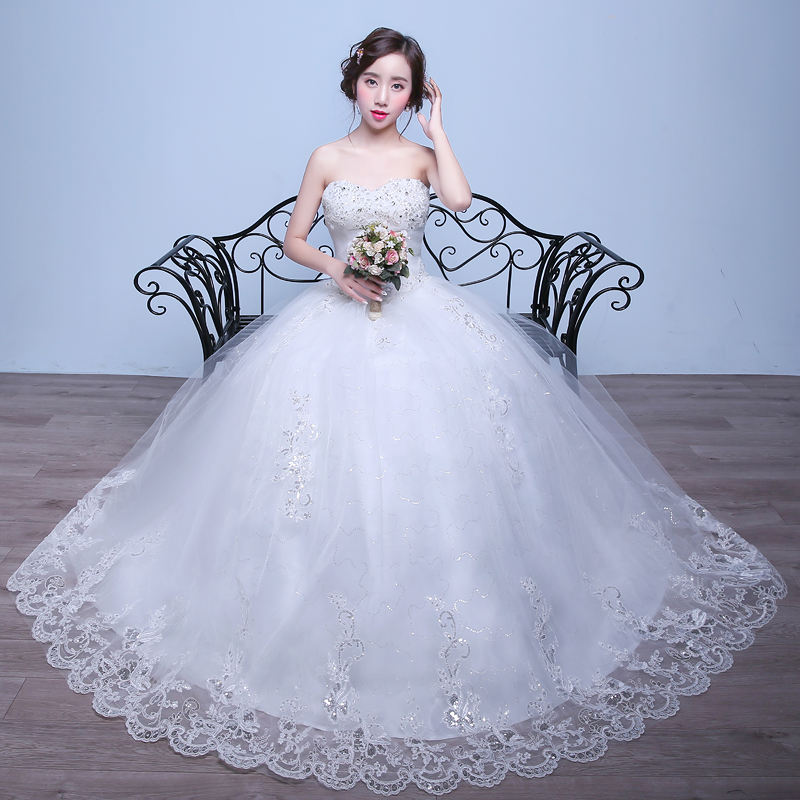 Witte Strapless Sweetheart Lace Kralen Tulle Ball-Gown Bridal Wedding Dress