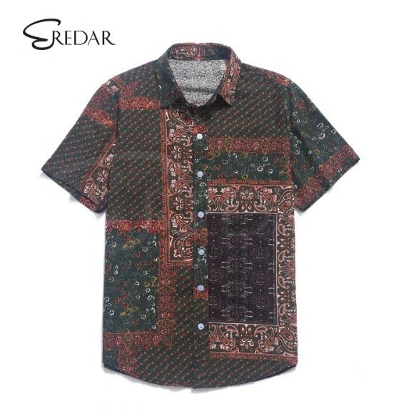 Custom Design high quality summer model casual Ethnic Tribal Paisley Print Button hawaii beach 100% cotton t Shirt