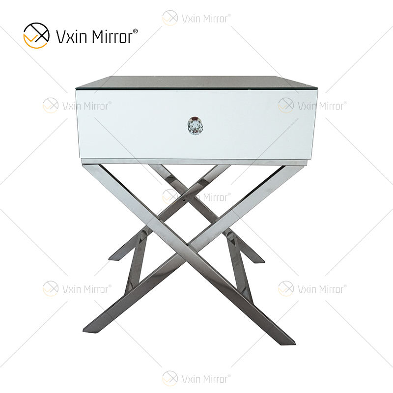 Vanity Modern WXF-046 Silver Stainless Steel Furniture Crystal Nightstand With 1 Drawers