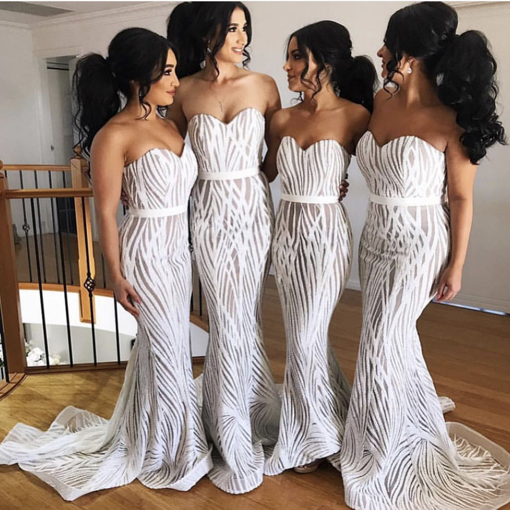 Women's Strapless White Sequin Wedding Long Party Dress Evening Maxi Dress Gown For Bridesmaid