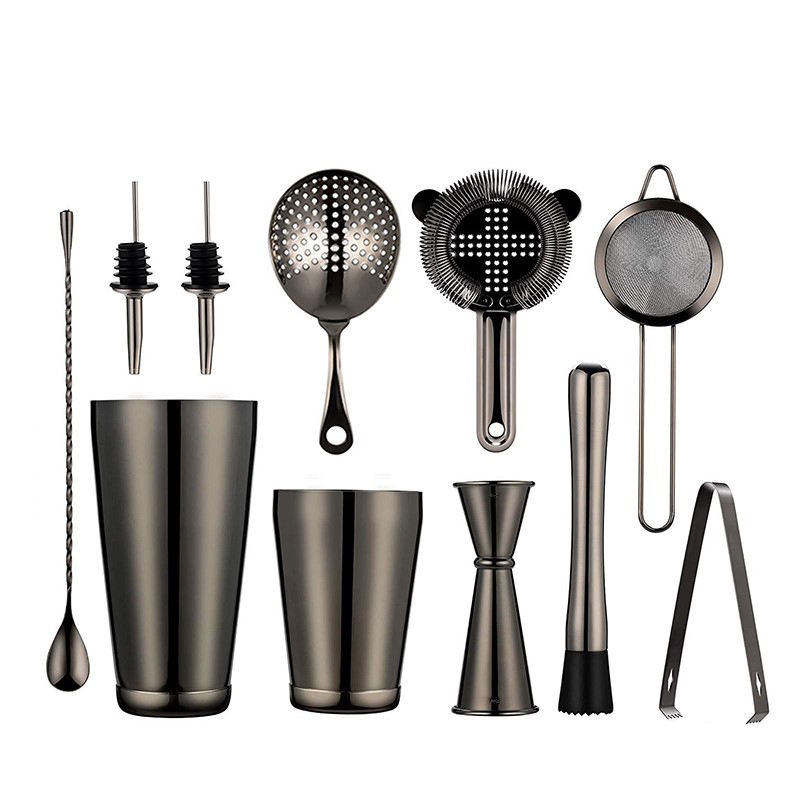 2021 Amazon Cocktailshaker 750ml Black Stainless Steel Boston Cocktail Shaker 11PCS Set Bar Accessory Bartender Kit