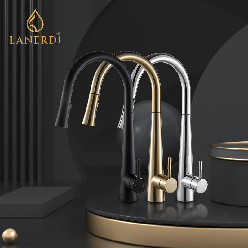 Lanerdi Gold cUPC UPC 61-9 NSF Single Handle Pull Out Pullout Kitchen Sink Long Spout Head Mixer Tap Faucet For Kitchen Sink