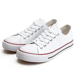 Wholesale Low Cut Vulcanized Sneakers Flat Plain Black Blank Bulk White Canvas Shoes Women