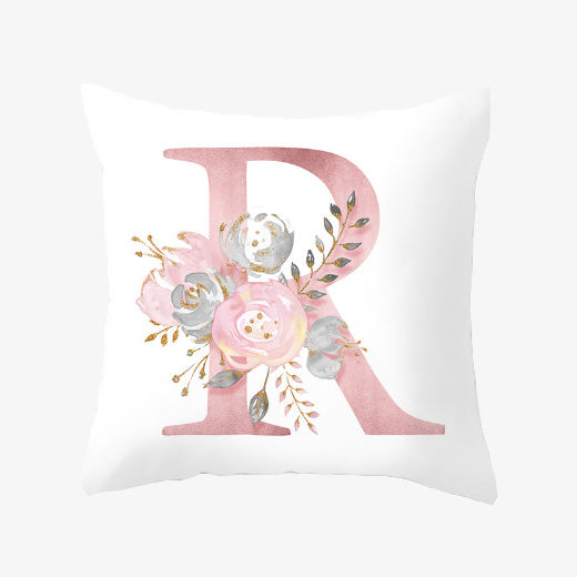 Pink letters decorative chair cushion cover custom printing alphabet sofa cushions for home decor