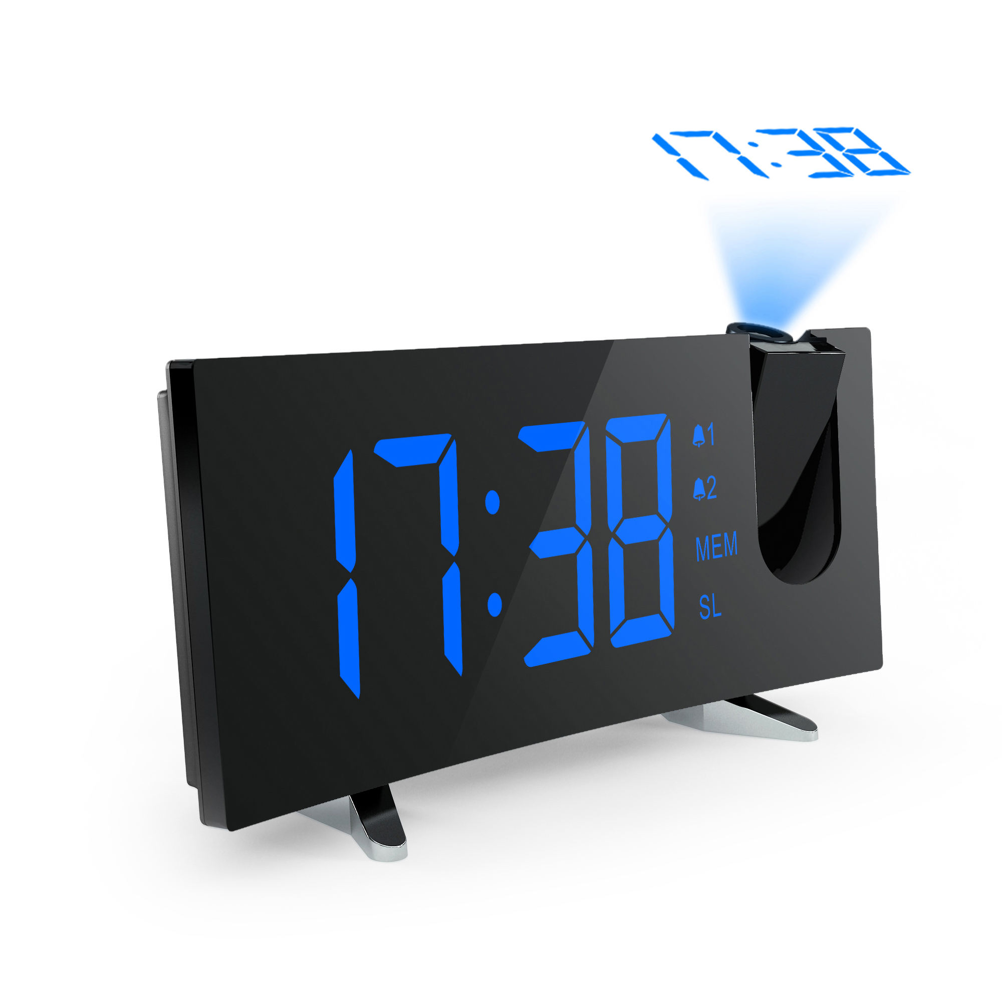 Modern Large-Display Digital Alarm Clock led with FM Radio and Projection