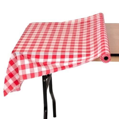 Red and white plastic table cover banquet checkered rolls 40inch by 100feet