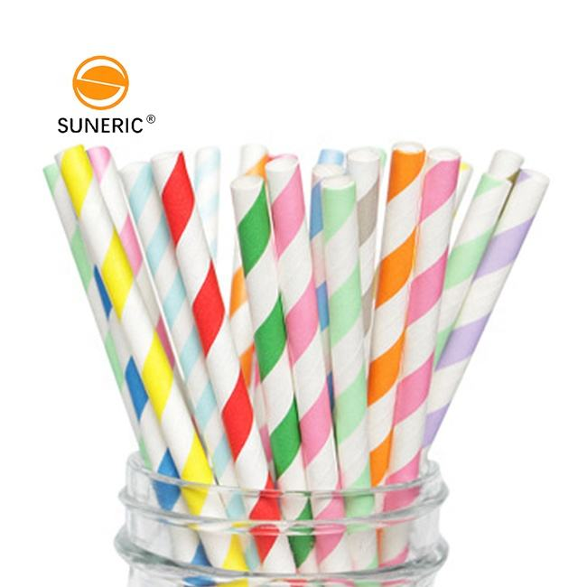 Wholesale eco friendly food grade paper roll biodegradable custom drinking colorful striped paper straws