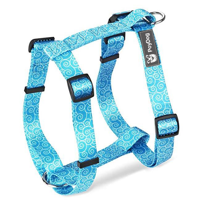 Simple Trendy custom Printed pet dog H-shaped harness for Big Dog