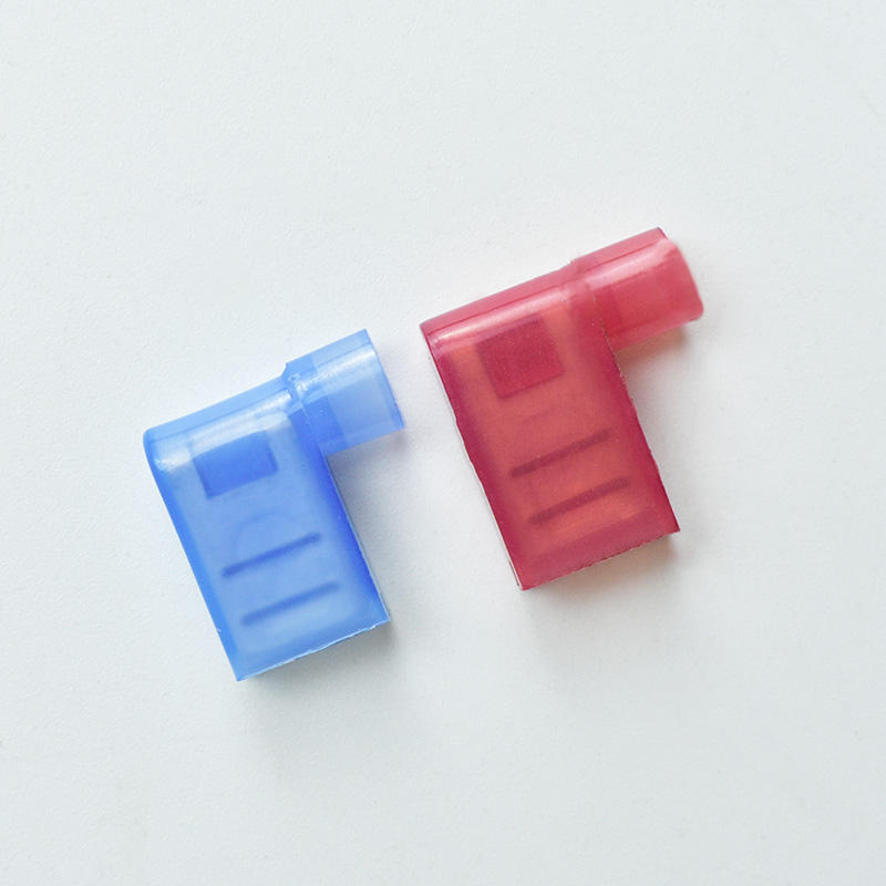QWT 187 250 Series Nylon Fully Pre Insulated Wire Connectors 90 Degree Right Angle Spade Female Disconnector 6.3 Flag Terminal
