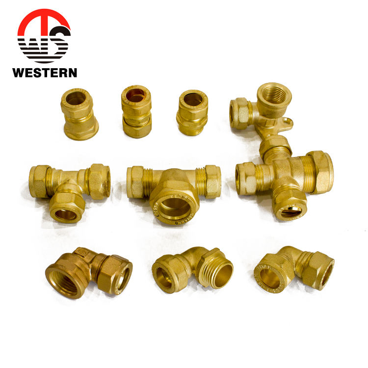 full range coupler plumbing materials Brass Pipe Connector Compression copper pipe male female elbow tee fittings