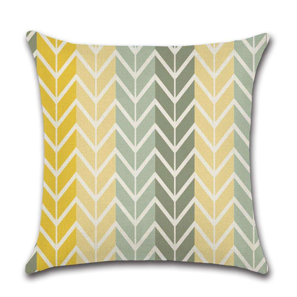 Yellow Geometric Arrow Pattern Cheap Floor Pillow Outdoor Throw Pillow Covers Case