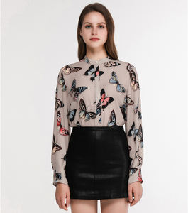 Mandarin Collar Long Sleeve Butterfly Print Women's Tops Shirt Blouse