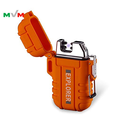 MLT159 Windproof Dual Arc Plasma Outdoor Waterproof Lighter USB Electric Lighter with Paratinder Lanyard