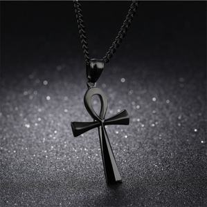 Fashion Glossy High Polished Alloy Gold Plated Ancient Egyptian Cross Pendant Necklace Jewelry