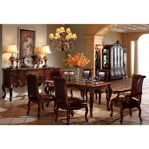 High end classic royal dining table and chairs wood furniture GH158