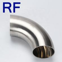 "RF SS304 1"" Stainless Steel Dairy Pipe Fitting 3A Standard 90 Degree Elbow Weld Short Bend"