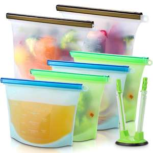 Leakproof Reusable Silicone Food Storage Bag with Reusable Ziplock Bags Holder