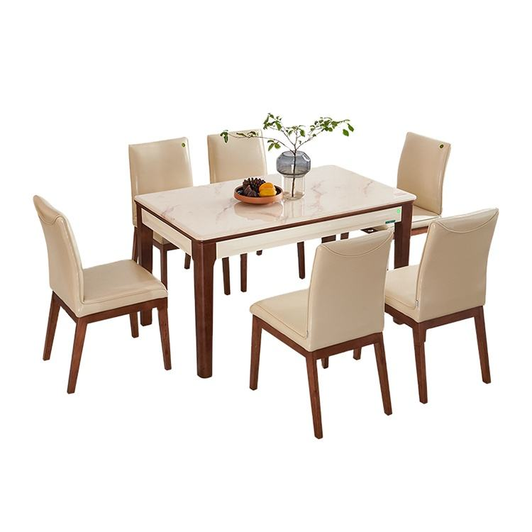 Dining Table and chairs set for dining room modern Tempered glass extending square dining table set 6 chairs