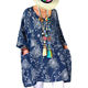 Oversize Poncho Loose Cotton Linen Women Bohemian Tunic Top with Pockets