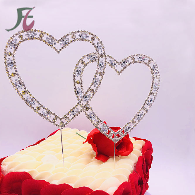 Wedding Decoration Supplies In Guangzhou/Double Heart Rhinestone Topper ,Diamante Crystal Rhinestone Cake Topper
