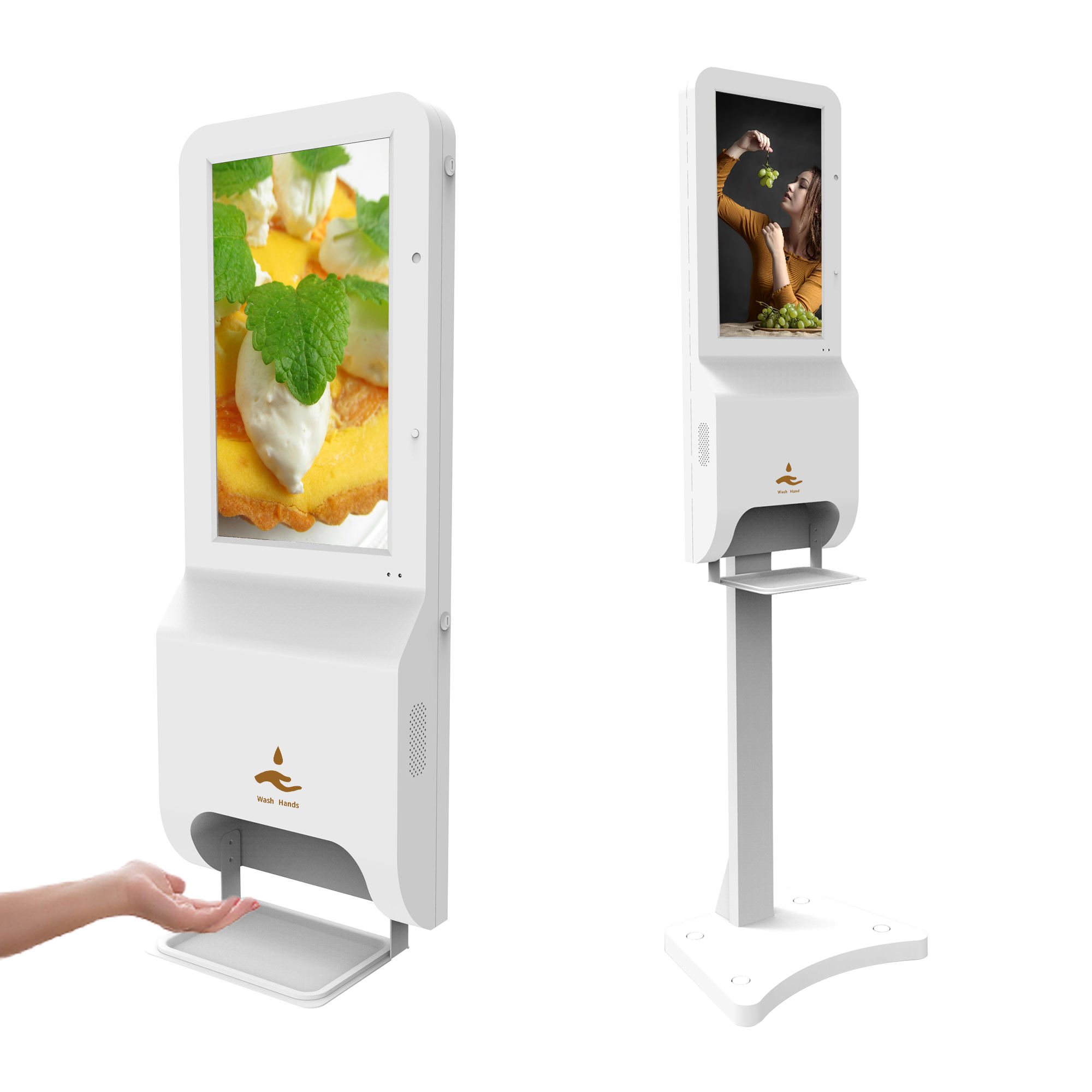 outdoor floor standing wall mount digital signage hand sanitizer dispenser disinfection temperature sensor kiosk