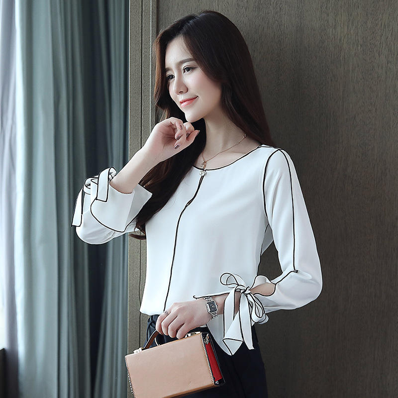Ladies clothing o neck ruffled long sleeve chiffon casual top blouses