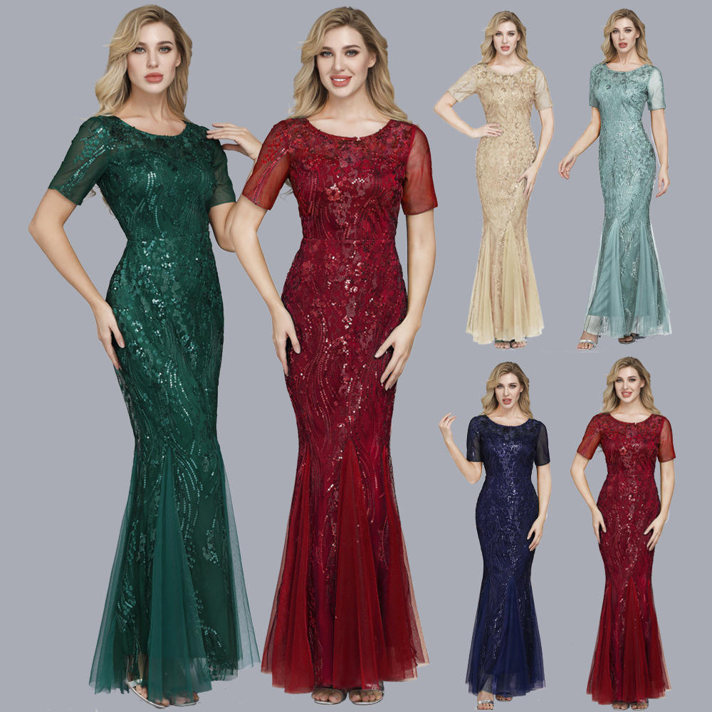 Hot Sale Plus Size Dress Embroidered Net Yarn Fishtail Slim Banquet Evening Wedding Party Dress Fashion Sequins Floor Dresses