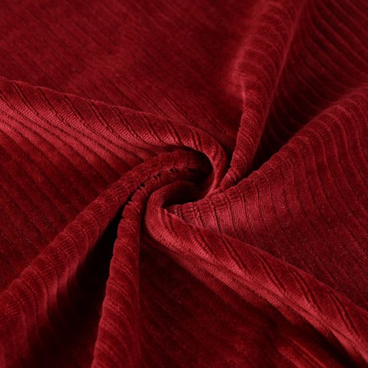 Cotton polyester spandex CVC stripe velvet upholstery fabric online for coat