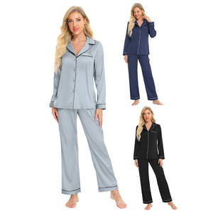 factory direct sales Black Friday Winter Autumn Long Sleeve Satin Women's plus size pajama sets