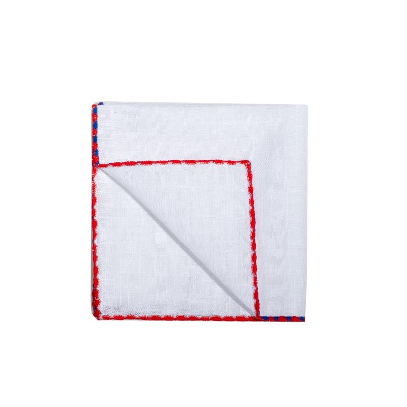 Wholesale Latest Design Contrast Color Edge Fashion Casual White Cotton Pocket Square