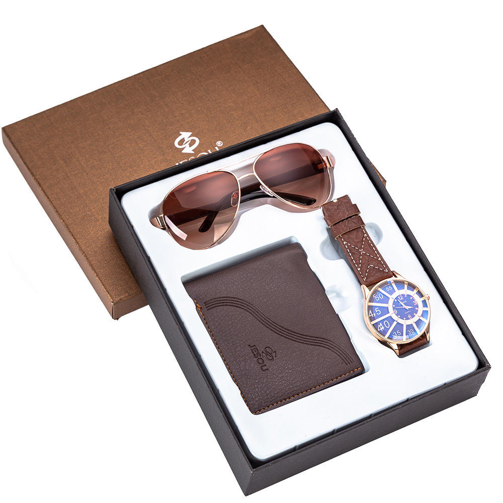 Three Piece Set Men's Gifts Beautiful Set Men Watches Wallet Sunglasses Fashion Gift Set
