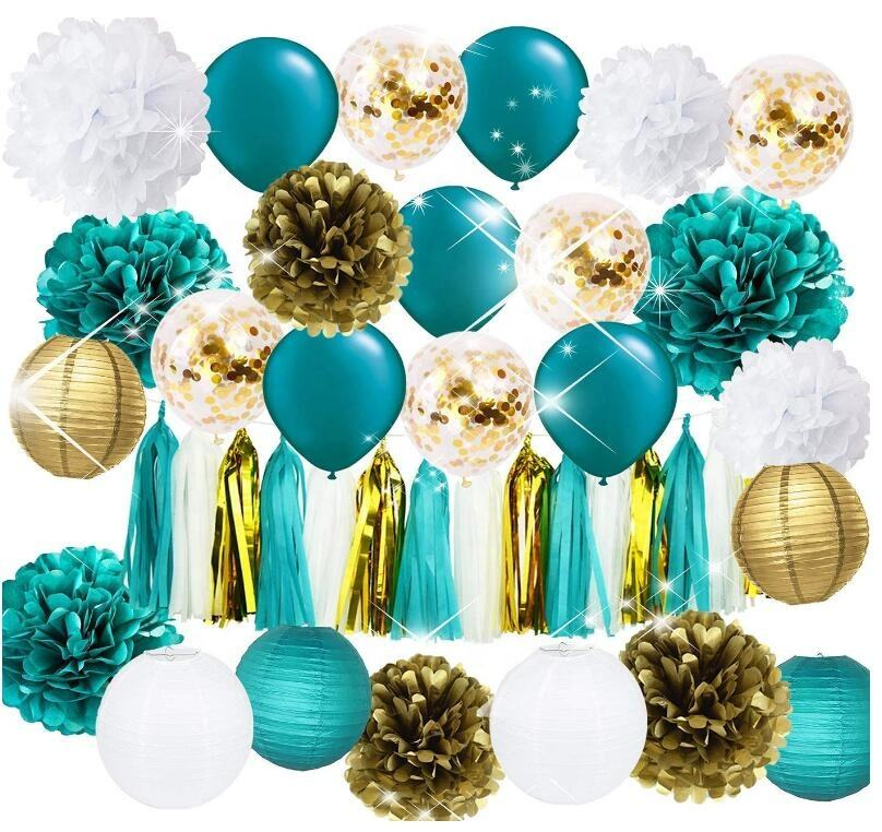 Gold Confetti Balloons Teal Balloons Tissue Pom Poms Lanterns Teal Party Supplies Decor Kit for Engagement Bridal Shower