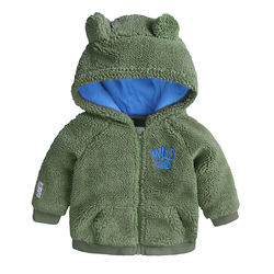 Wholesale 3 to 18 months army green hooded zipper baby coat